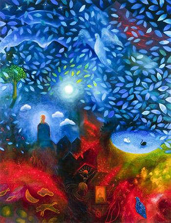 Drömsk målning av skog.