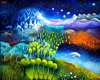 Drömsk målning av skog och stjärnhimmel.